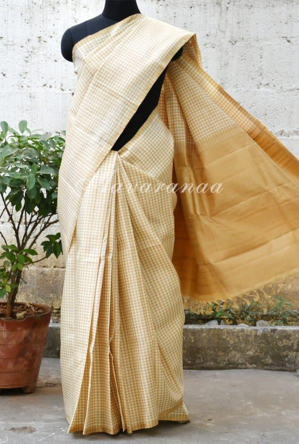 Beige and half white checks silk saree-0