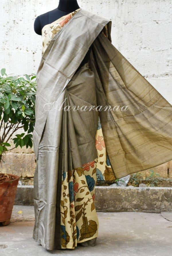 Grey and beige Kalamkari tussar Saree-0