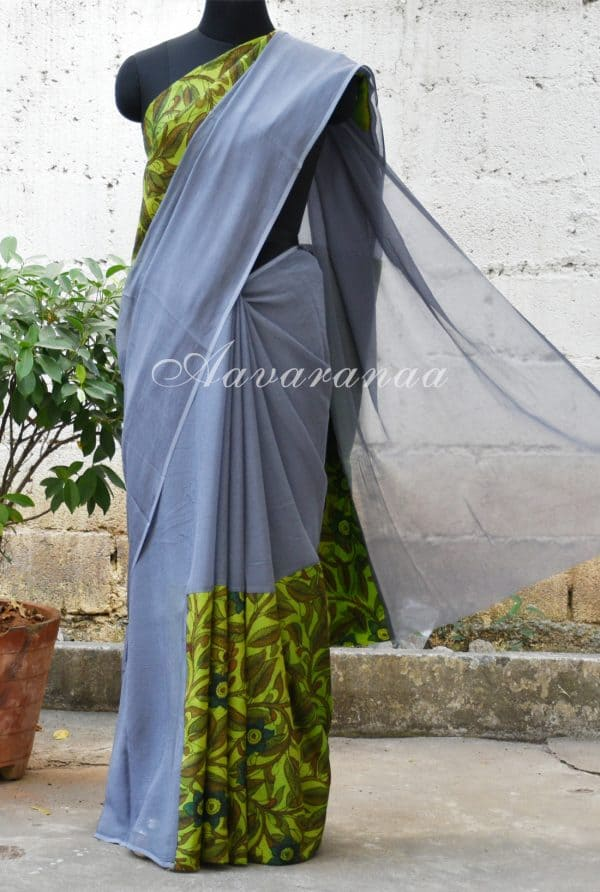 Grey chiffon with Kalamkari Saree-0