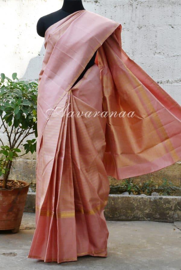 Onion pink kancheepuram silk saree with a rettai pattu border-0