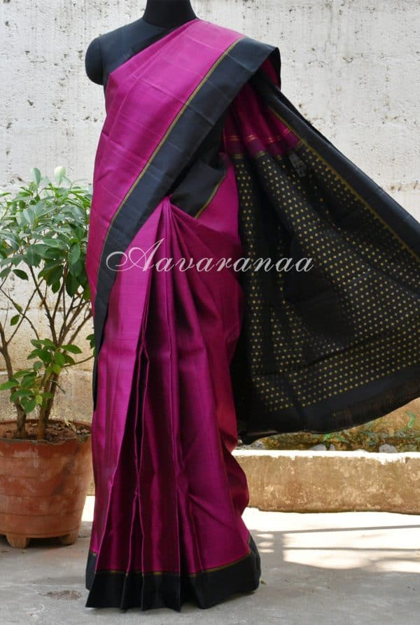 Purple and black border kanchi silk saree -0