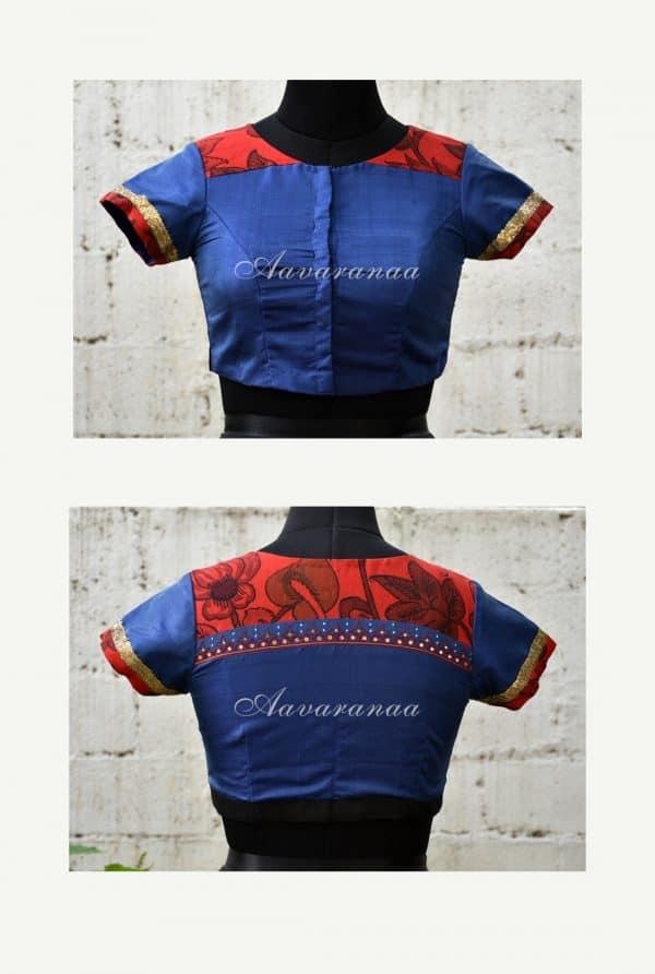 Blue silk blouse with red kalamkari -18719