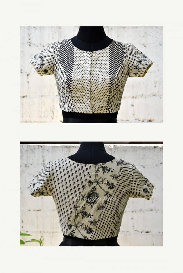 Beige printed cotton patch work blouse-0