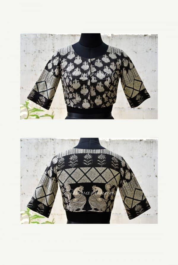 Black and beige cotton patchwork blouse -0