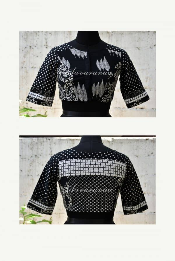 Black printed cotton patch work blouse -0