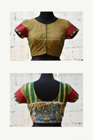 Green kanchi cotton blouse with kalamkari -0