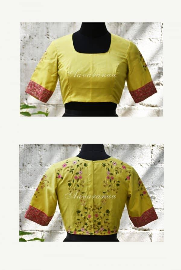 Lemon green kanchi silk hand embroidered blouse -0