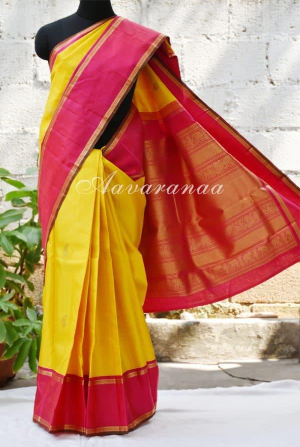 Yellow kancheepuram silk saree with pink border-0