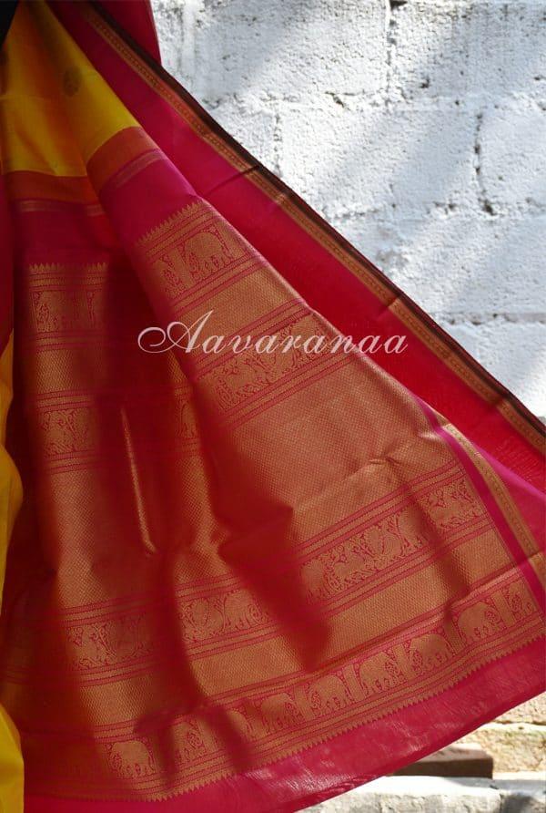 Yellow kancheepuram silk saree with pink border-18420
