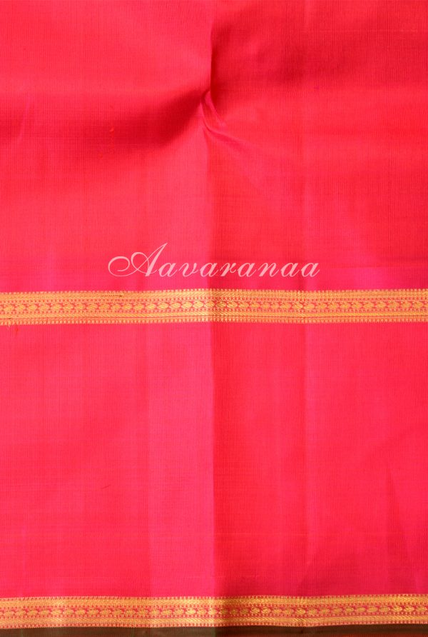 Yellow kancheepuram silk saree with pink border-18421