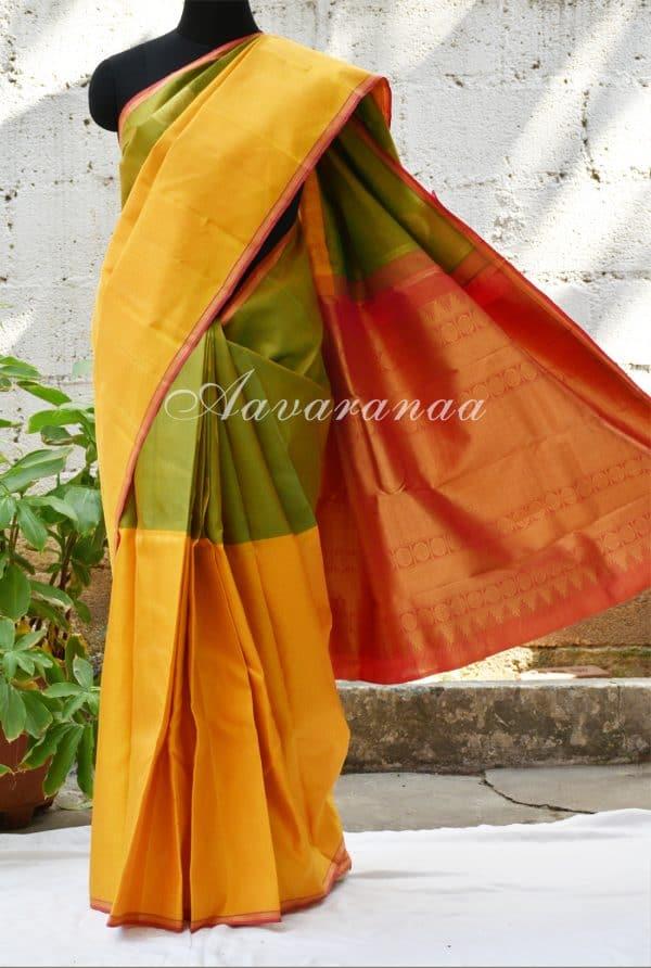 Green mustard kancheepuram silk saree-0