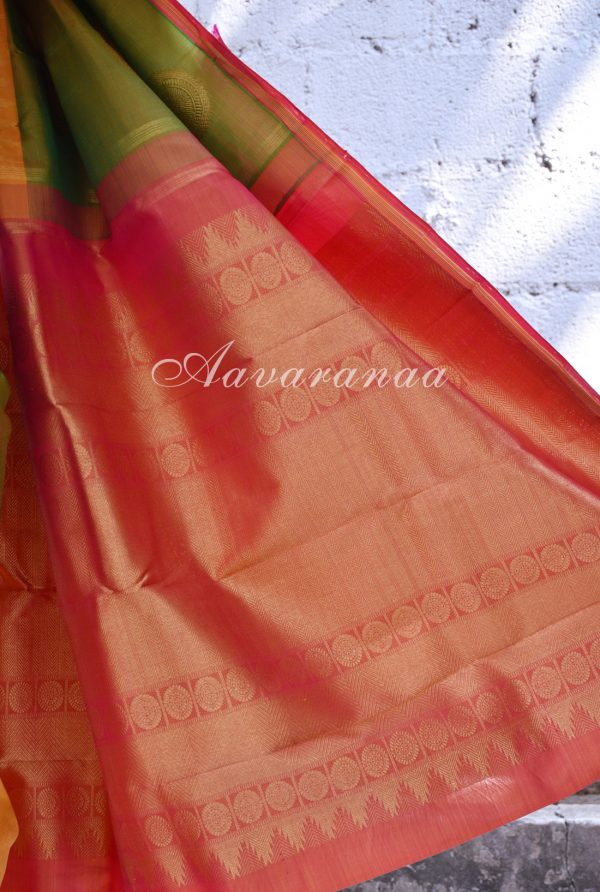 Green mustard kancheepuram silk saree-18424