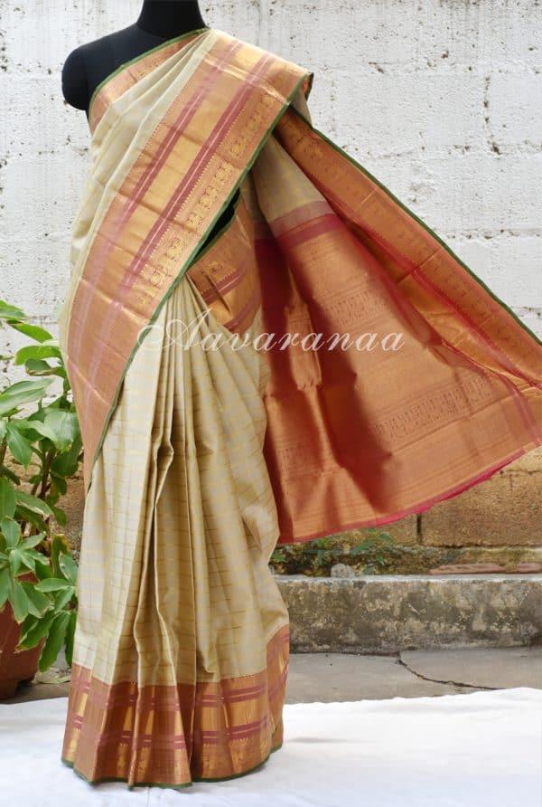 Beige zari checks kancheepuram silk saree with pink border-0