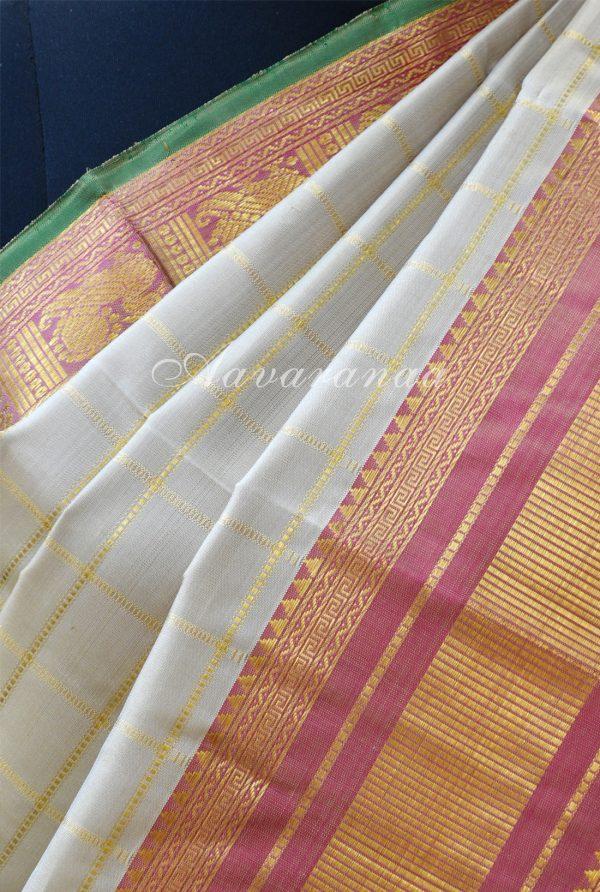 Beige zari checks kancheepuram silk saree with pink border-18428