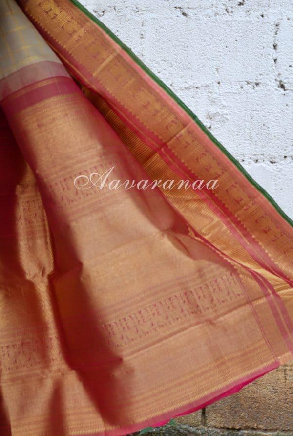 Beige zari checks kancheepuram silk saree with pink border-18430