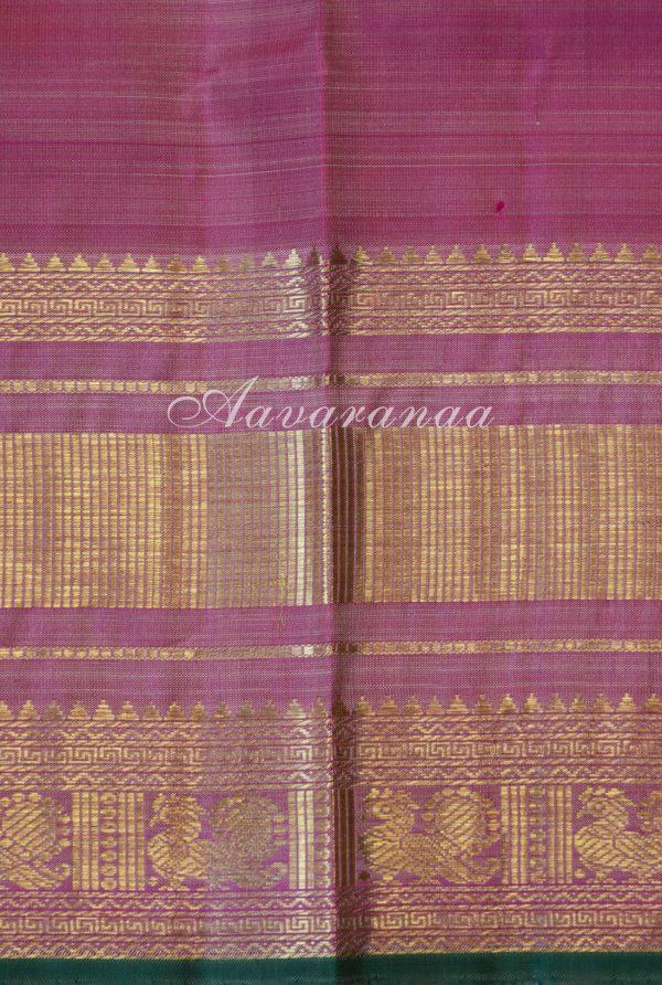 Beige zari checks kancheepuram silk saree with pink border-18429