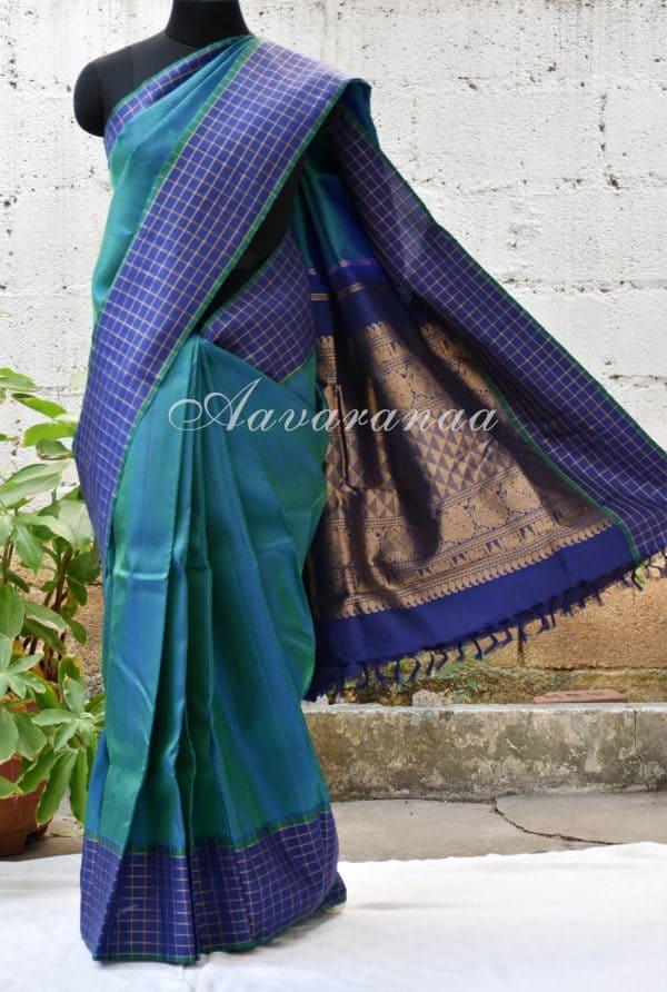 Turquoise blue kanchipuram silk with checks zari border-0