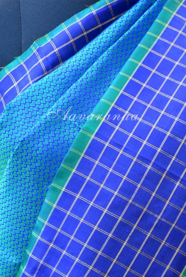 Turquoise blue kanchipuram silk with checks zari border-18443
