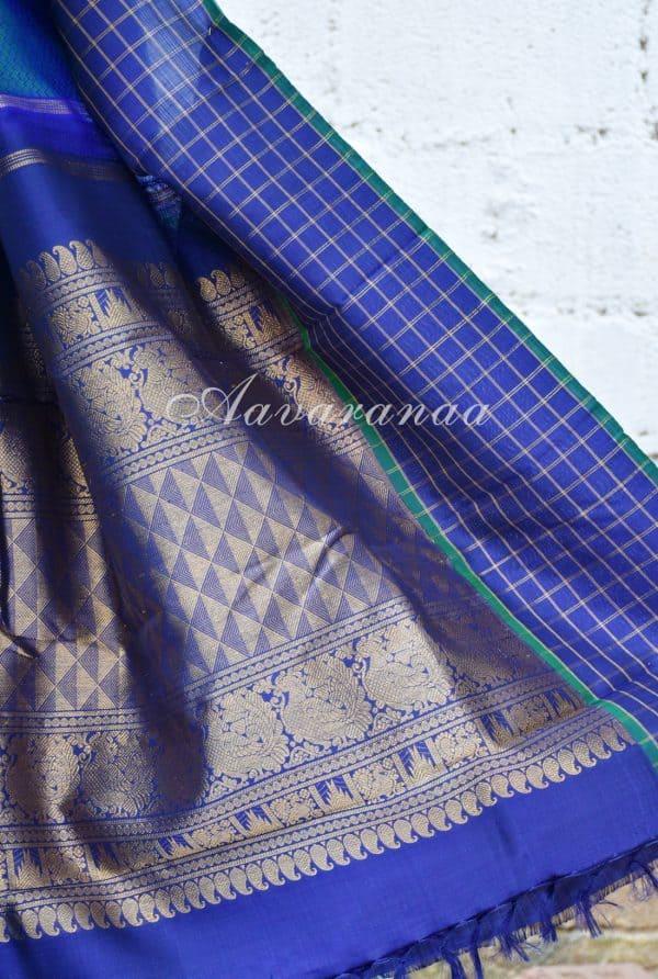 Turquoise blue kanchipuram silk with checks zari border-18446