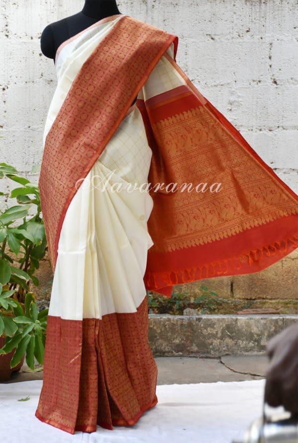 Cream kancheepuram silk saree with ambre border-0