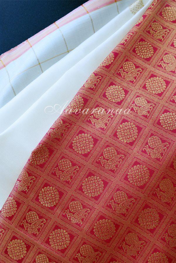 Cream kancheepuram silk saree with ambre border-18458