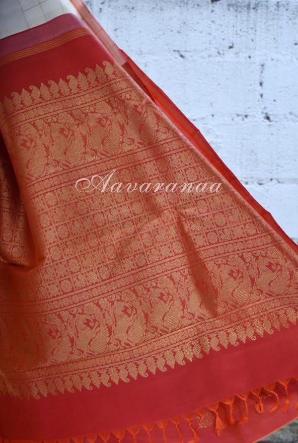 Cream kancheepuram silk saree with ambre border-18456