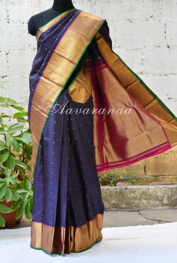 Navy blue zari checks kancheepuram silk saree-0