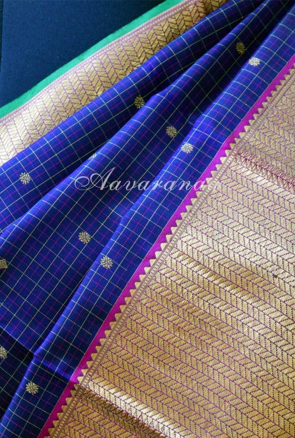 Navy blue zari checks kancheepuram silk saree-18475