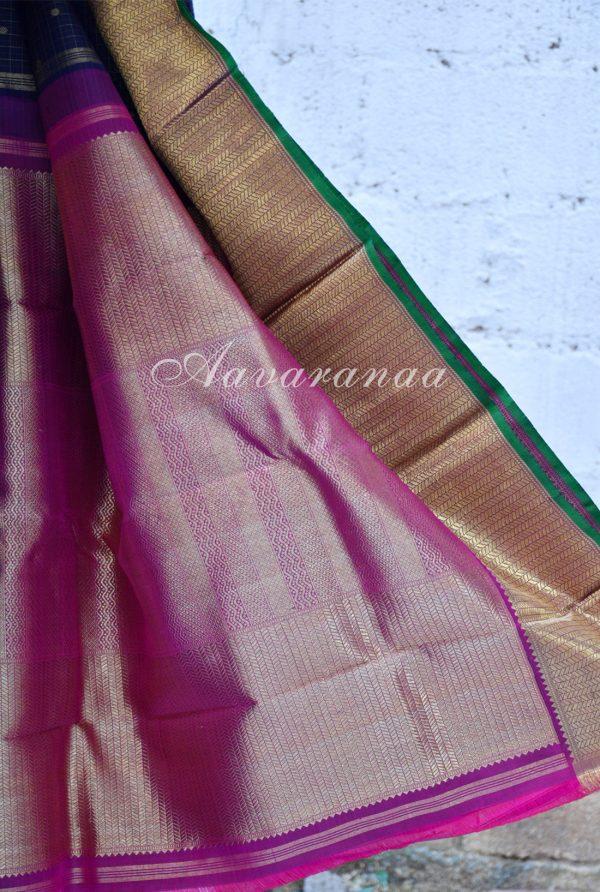 Navy blue zari checks kancheepuram silk saree-18478