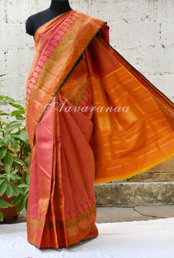 Pink kancheepuram silk saree with matte border-0