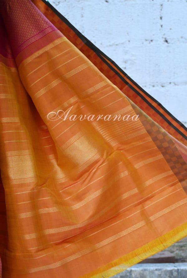 Pink kancheepuram silk saree with matte border-18481