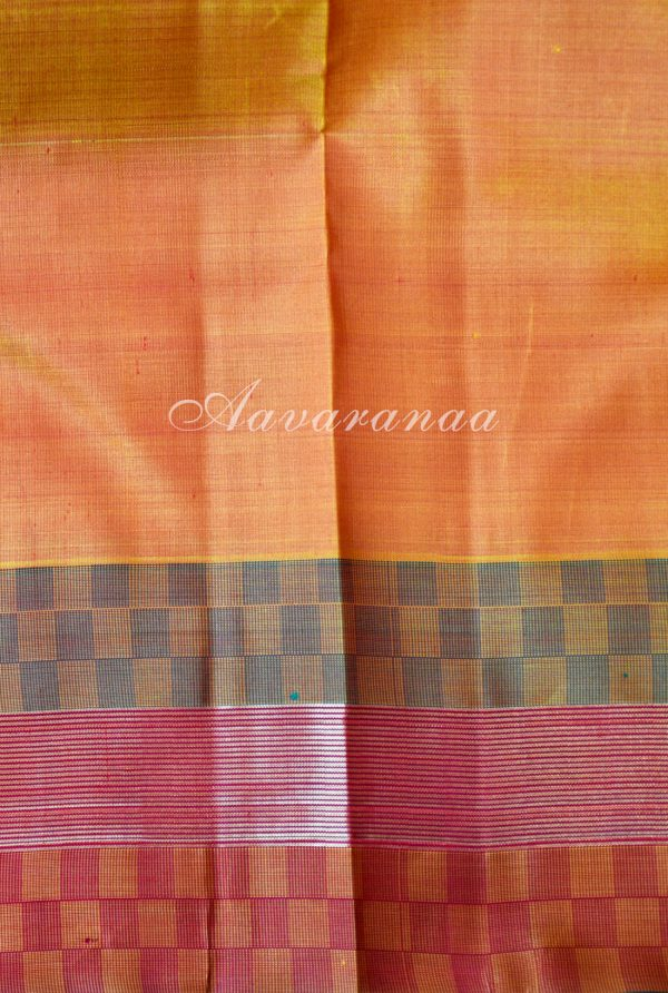 Pink kancheepuram silk saree with matte border-18482