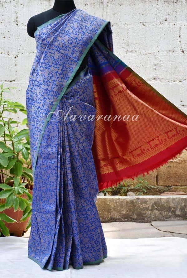 Blue vanasingaram kancheepuram silk saree with red pallu -0
