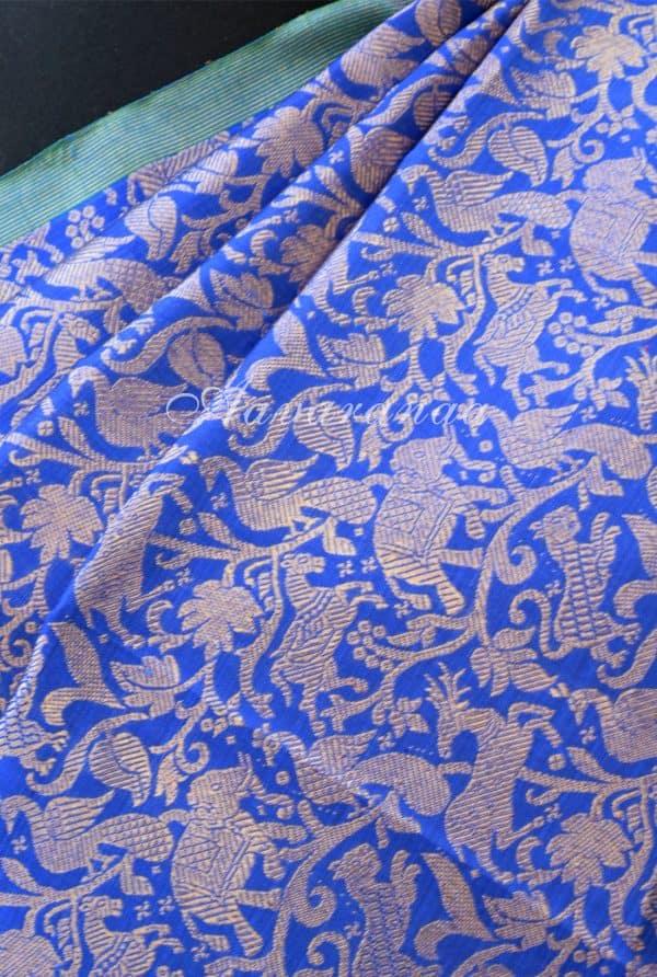 Blue vanasingaram kancheepuram silk saree with red pallu -18486