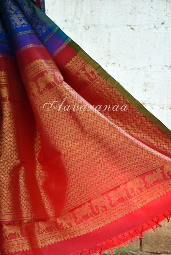 Blue vanasingaram kancheepuram silk saree with red pallu -18484