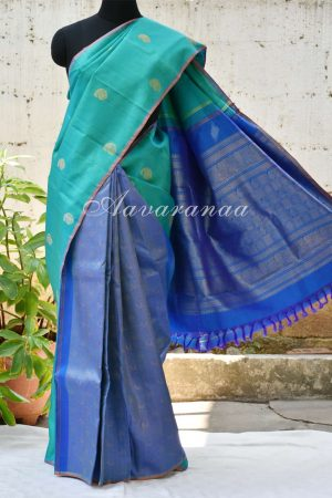 Teal royal blue partly pallu kancheepuram silk saree -0