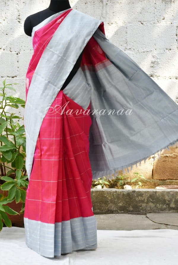 Pinkish red kancheepuram silk with grey stripes border -0