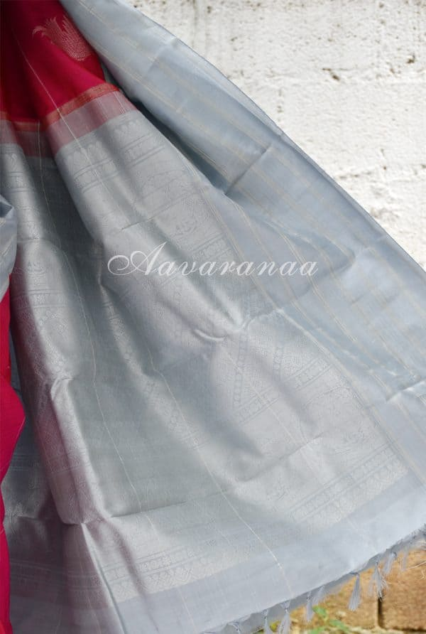Pinkish red kancheepuram silk with grey stripes border -18531