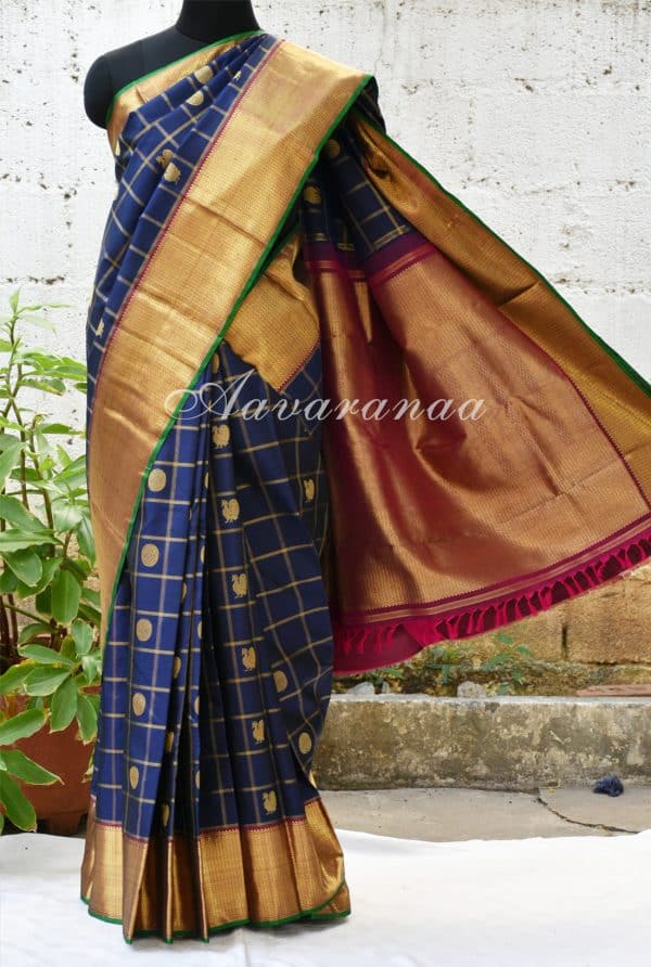 Navy blue kancheepuram silk saree with peacock and checks -0