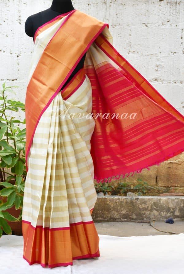 Cream kancheepuram silk saree with thread woven checks and korvai border-0