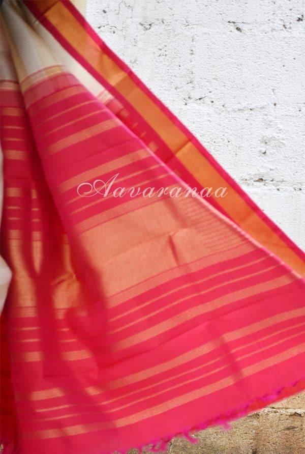 Cream kancheepuram silk saree with thread woven checks and korvai border-18541