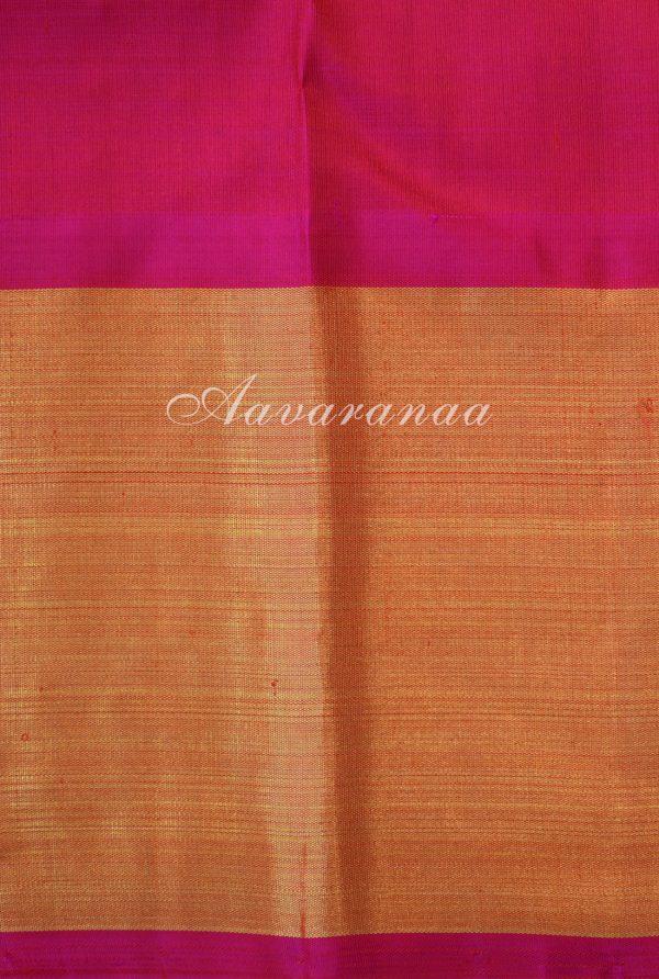 Cream kancheepuram silk saree with thread woven checks and korvai border-18542