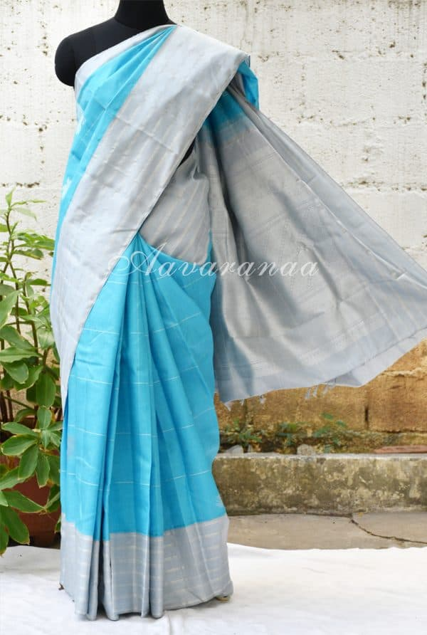 Turquoise blue kancheepuram silk saree with grey border-0