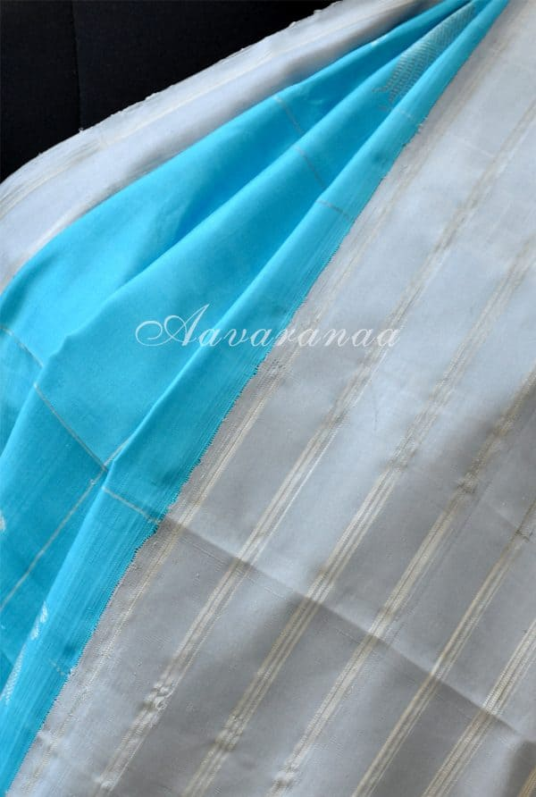 Turquoise blue kancheepuram silk saree with grey border-18550