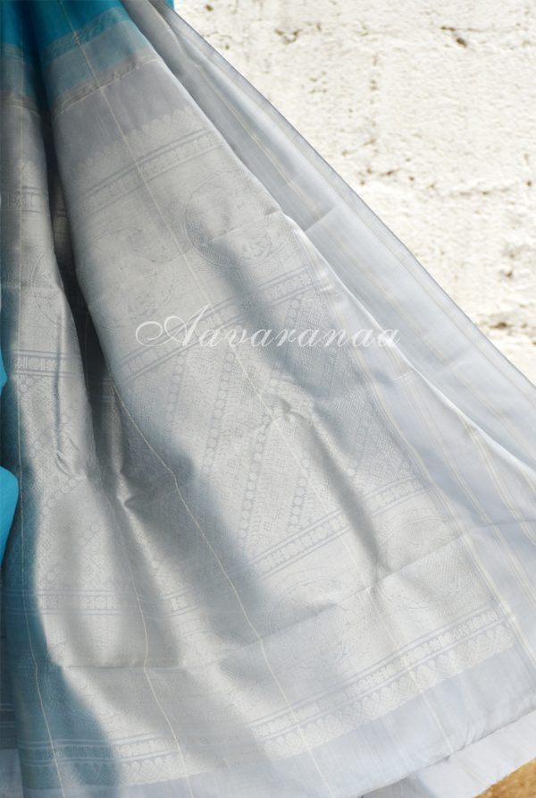 Turquoise blue kancheepuram silk saree with grey border-18547