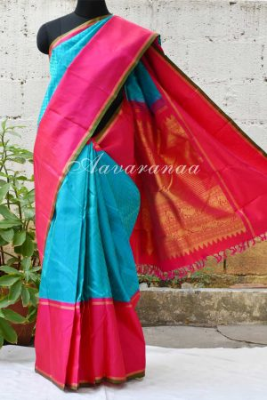 Turquoise blue chevron woven kancheepuram silk saree with pink korvai border-0