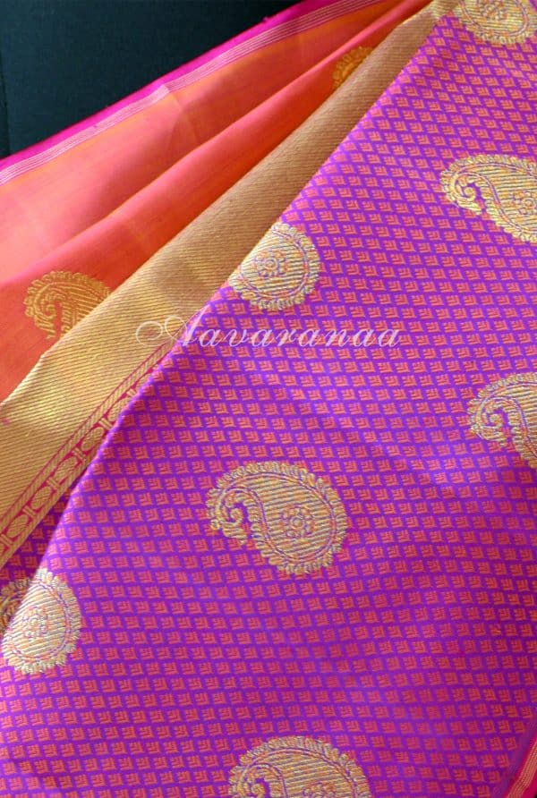 Peach majenta kancheepuram silk saree with centre border-18584