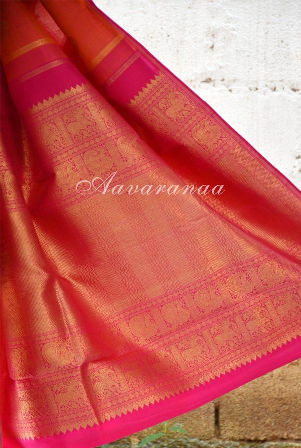Peach majenta kancheepuram silk saree with centre border-18586