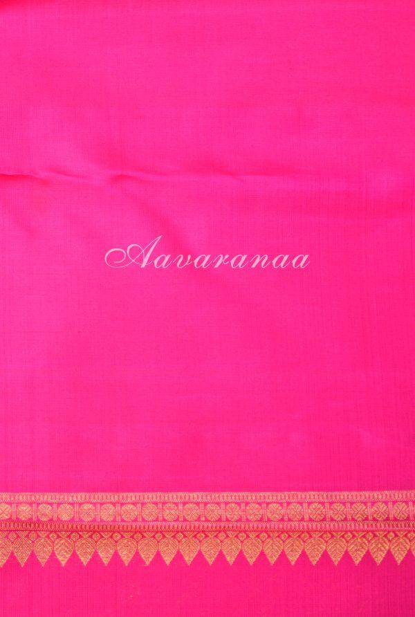 Peach majenta kancheepuram silk saree with centre border-18583