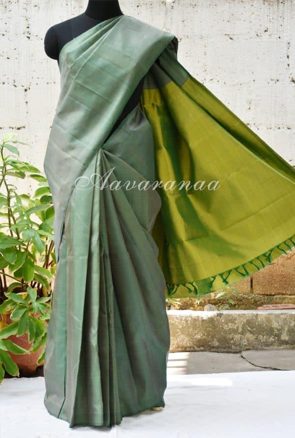 Striped green kancheepuram silk saree-0
